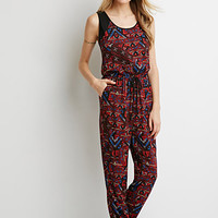 Drawstring Tribal Print Jumpsuit