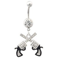 316L Surgical Steel 14G Western Cowgirl Clear Crystal Double Revolver Pistol Gun Dangle Belly Navel Ring
