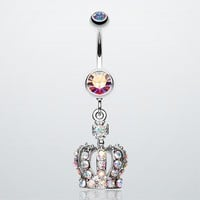 Dazzling Royal Crown Belly Ring