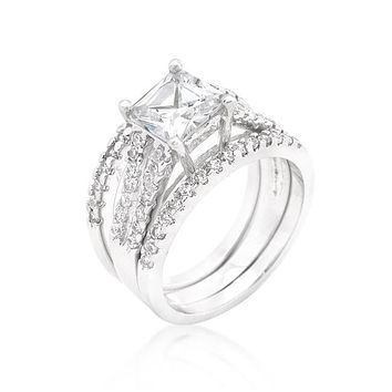 Hana 1.25ct Princess Three Band Engagement Wedding Set | 3.5ct