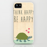 Think happy be happy typography Print on wooden background iPhone & iPod Case by Claudia Schoen