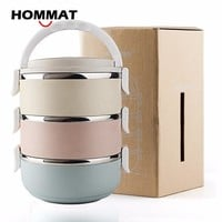 3 Layer Stainless Steel Thermo Bento Lunch Boxs Japanese Food Box Insulated Lunchbox Thermal School Food Container w/ Handle