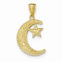 14k Yellow Gold Textured Moon and Stars Pendant