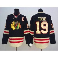 Winter Classic Hockey Blackhawks #19 Jonathan Toews Black Outdoor Jerseys Sportswear