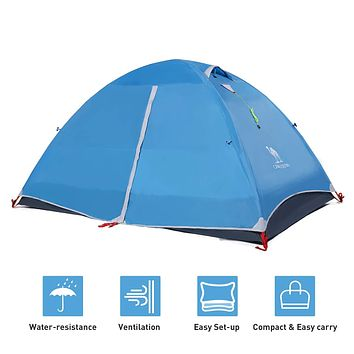 CAMEL CROWN 2-3 Person Tent Camping Dome Tent Outdoor Lightweight Water Resistant Hiking Travel Beach Backpacking Tent blue-2