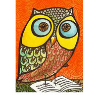 """Aceo miniature original painting of a """"Wise Owl"""" room decor collectible under 20"""