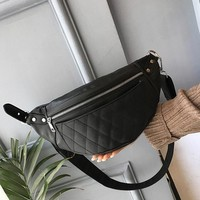 Classic Black Leather Belt Bag