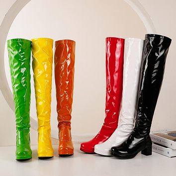 Women Fashion Color Patent Leather Over The Knee Boots