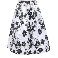 White A-line Midi Skirt With Floral Print