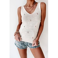 Pour Me A Glass Knitted Tank (Ivory Multi)