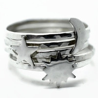 Silver Sun Ring Silver Star Ring Silver Moon Ring by fifthheaven