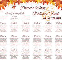 DIY Printable Wedding Seating Chart | PDF file | Red Orange Fall Leaves - EMAIL Delivery