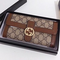 GUCCI Fashion New More Letter Print Leather Wallet Purse Handbag Brown