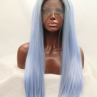 Kylie jenner blue ombre straight hair synthetic lace front wig