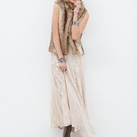 FOREVER 21 Luxe Faux Fur Vest Taupe