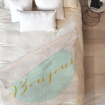 Allyson Johnson French Hello Fleece Throw Blanket