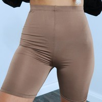Not Today Biker Shorts: Tan