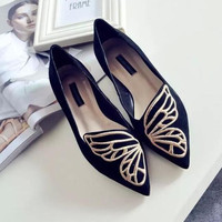 Butterfly Shoes Woman Flat Oxford Shoes For Women Slip On Loafers Designer Shoes Ladies Flats Shoes Plus Size 35-40