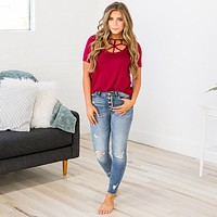 NEW! Lucy Caged Top - Burgundy