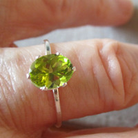 Oval Peridot Ring made with  .925 Recycled Sterling Silver
