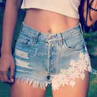 High waisted jean shorts with White laces Levi Hippie Boho Bohemian clothes Coachella Festival wear Kawaii Fairy Kei clothing by Jeansonly