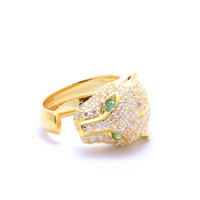 14K Gold Plated Rhinestone Panther Ring