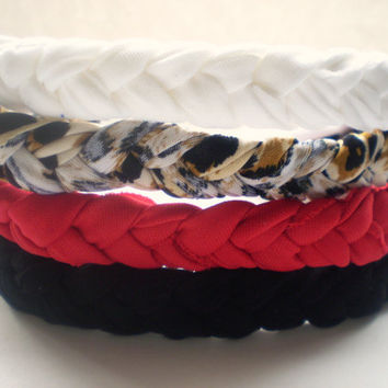 The Basics: Red, White, Black, and Leopard Print Braided Headbands Women's Hair Accessories Hippie Headband Elastic Headband