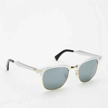 Ray-Ban Brushed Metal Clubmaster Sunglasses- Silver One