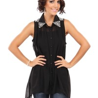 Sleeveless Button Down Top With Pearls