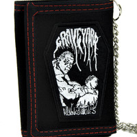 Graveyard Coffin Tri-fold Wallet w/ Chain 70s Prog Metal Clothing