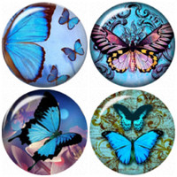 """Butterfly snap button charms """"20mm 4 Pack"""" interchangeable with Noosa & Ginger snap jewelry"""