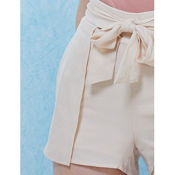 High Waisted Tie Belt Pleated Shorts  (CLEARANCE)