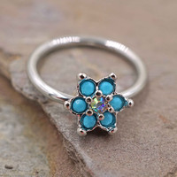 Rook Daith Hoop Turquoise Flower