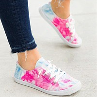 2020 summer new fashion tie-dye cloth shoes flat bottom casual comfortable shoes women's shoes pink