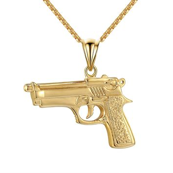 14k Gold Tone Gun Pendant Stainless Steel Mens Charm Hip Hop Box Necklace 24""