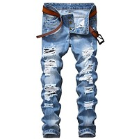 Men's Ripped Jeans Pants Slim Fit Light Blue Denim Joggers Male Distressed