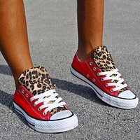 New canvas shoes, simple color matching, low-top casual shoes leopard Tongue