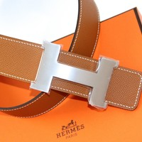 HERMES 100% Authentic REVERSIBLE Belt Kit CONSTANCE H BUCKLE ETAIN/GOLD Sz 85