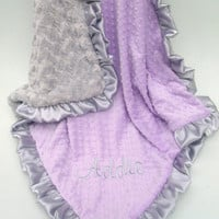 Lavender and Silver Gray Minky Baby Blanket - Silver Swirl Minky