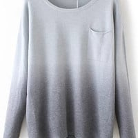 Grey Long Sleeve Pocket Sweater