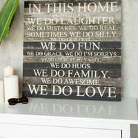 In This Home We Do Love 28 X 28 Wood Wall Decor
