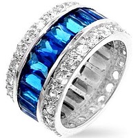 Kinsley Radiant Sapphire Eternity Ring | 11ct | Sterling Silver