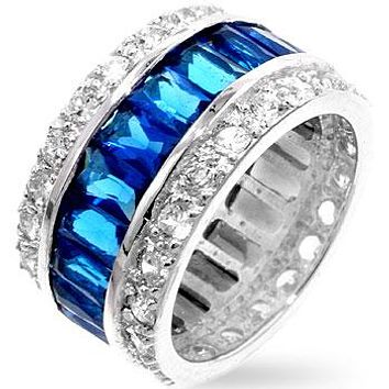 Kinsley Radiant Sapphire Eternity Cocktail Ring | Sterling Silver