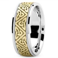 Wedding Band - Celtic Mens Wedding Ring in Yellow and White Gold