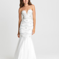 Madison James 16-328 In Stock Ivory Size 4 Scallop Beaded Mermaid Prom Dress