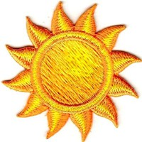 """[Single Count] Custom and Unique (2"""" Inches) Round Sunny Day Sun With Sunrays Iron On Embroidered Applique Patch {Yellow and Orange Colors}"""