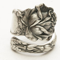 Spoon Ring Bridal Rose Sterling Silver by Alvin Co, Handcrafted in Your Size (3590)