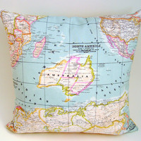 World map pillow cover - world map cushion cover - as seen in Marie Claire - decorative pillows - blue pillow cover - decorative map pillo