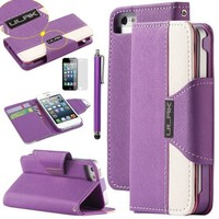 iPhone 5s Case,iPhone 5 Case,ULAK iPhone SE Wallet Case Synthetic Leather Wallet Case Stand with Card Slots for iPhone 5/5S/SE (Purple+White)