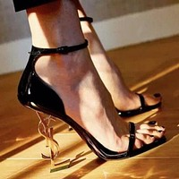 YSL Yves Saint Laurent YSL Fashion Women Sexy Letter High Heels Sandals Shoes